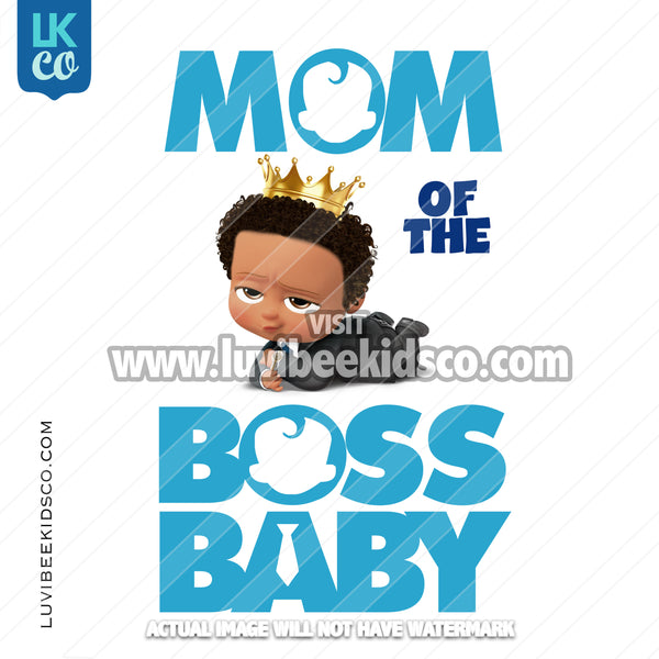 Boss Baby Iron On Transfer | Mom of the Boss Baby - Afro Boy with Crown - LuvibeeKidsCo