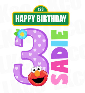 Sesame Street Iron On Birthday Shirt Design | Elmo Happy Birthday Girl