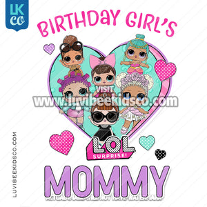 LOL Surprise Dolls Iron On Transfer Design - Birthday Girl's Mommy - Purple - LuvibeeKidsCo
