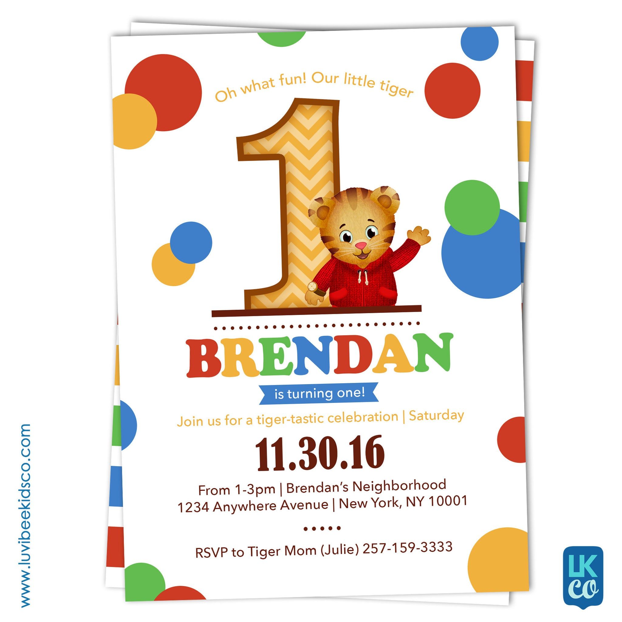 Daniel Tiger Invitation with Backside Image | Dots - LuvibeeKidsCo