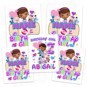 Doc McStuffins Iron On Transfers Family Pack | Birthday Girl | Multicolored - LuvibeeKidsCo