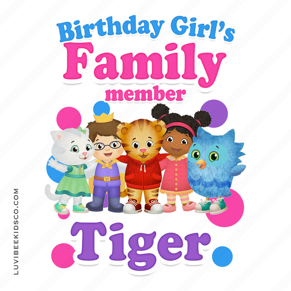 Daniel Tiger Iron On Transfer for Birthday Girl | Pink - Add Any Family Member