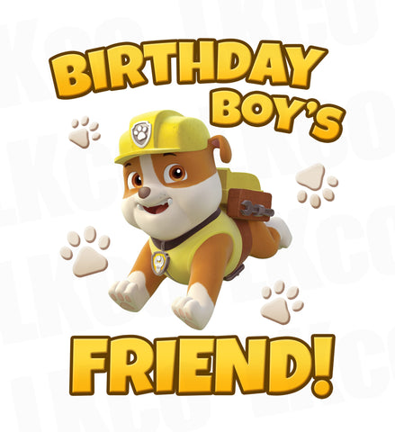 Paw Patrol Iron On Transfer | Birthday Boy's Friend | Rubble
