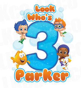 Bubble Guppies Iron On Transfer | Blue & Orange - Look Who's - LuvibeeKidsCo