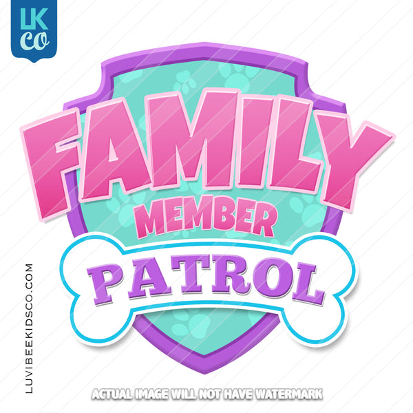 Paw Patrol Iron On Transfer - Patrol Pink | Add Family Members - LuvibeeKidsCo