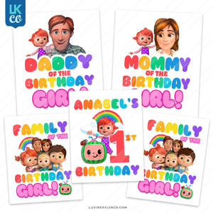 Cocomelon Inspired Heat Transfer Designs - Family Pack - Birthday Girl - Style 2