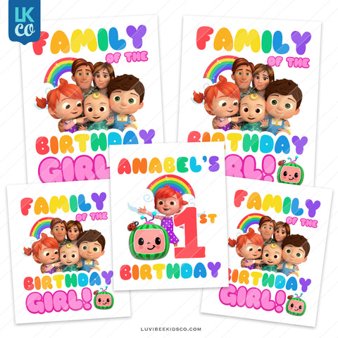 Cocomelon Inspired Heat Transfer Designs - Family Pack - Birthday Girl