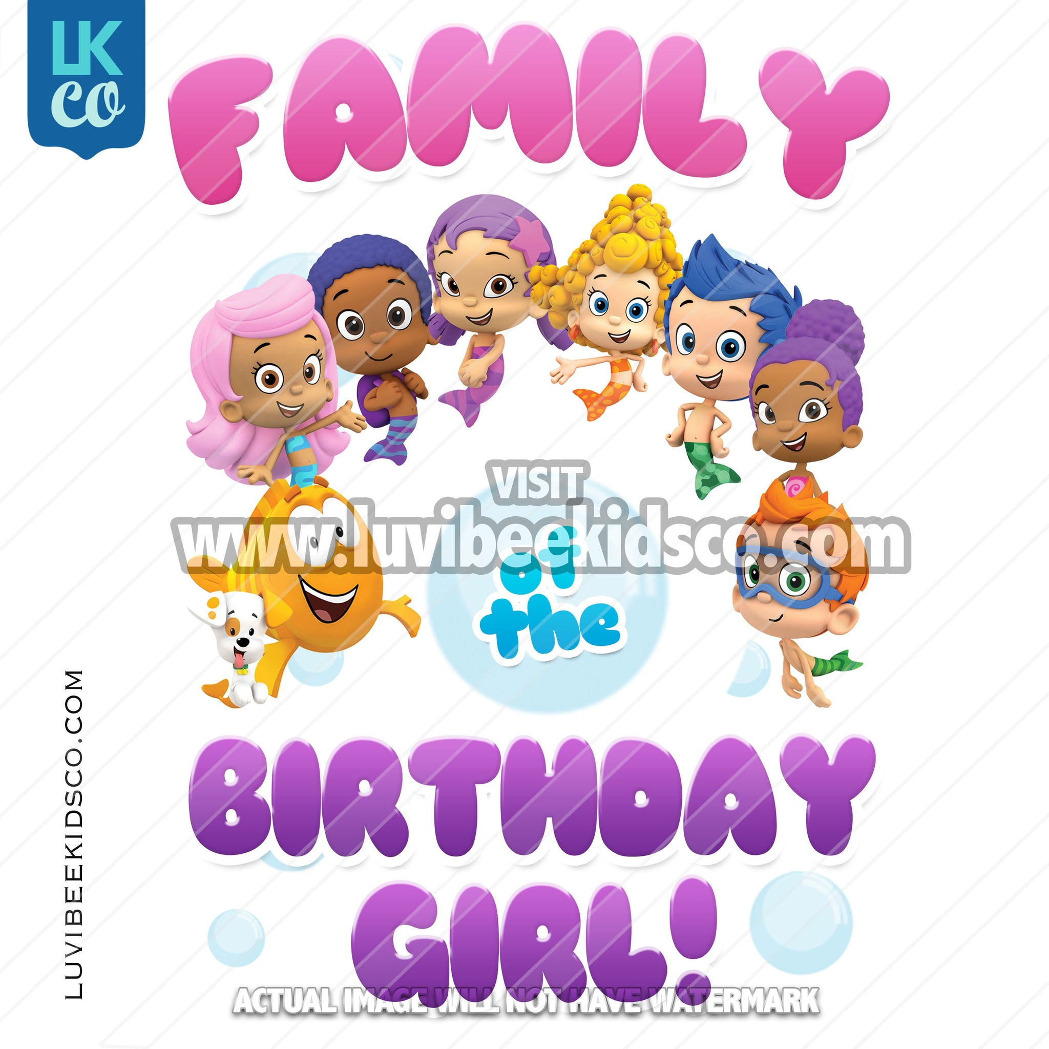 Bubble Guppies Iron On Transfer | Add Family Members | Birthday Girl