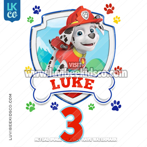 Paw Patrol - Marshall - Customize Any Name and Age - LuvibeeKidsCo