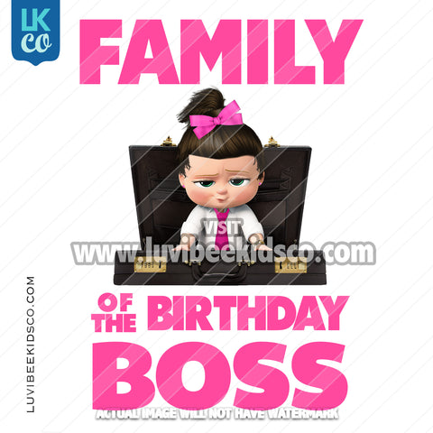 Boss Baby Iron On Transfer | Family of the Birthday Boss - Pink Baby Girl - Briefcase - LuvibeeKidsCo
