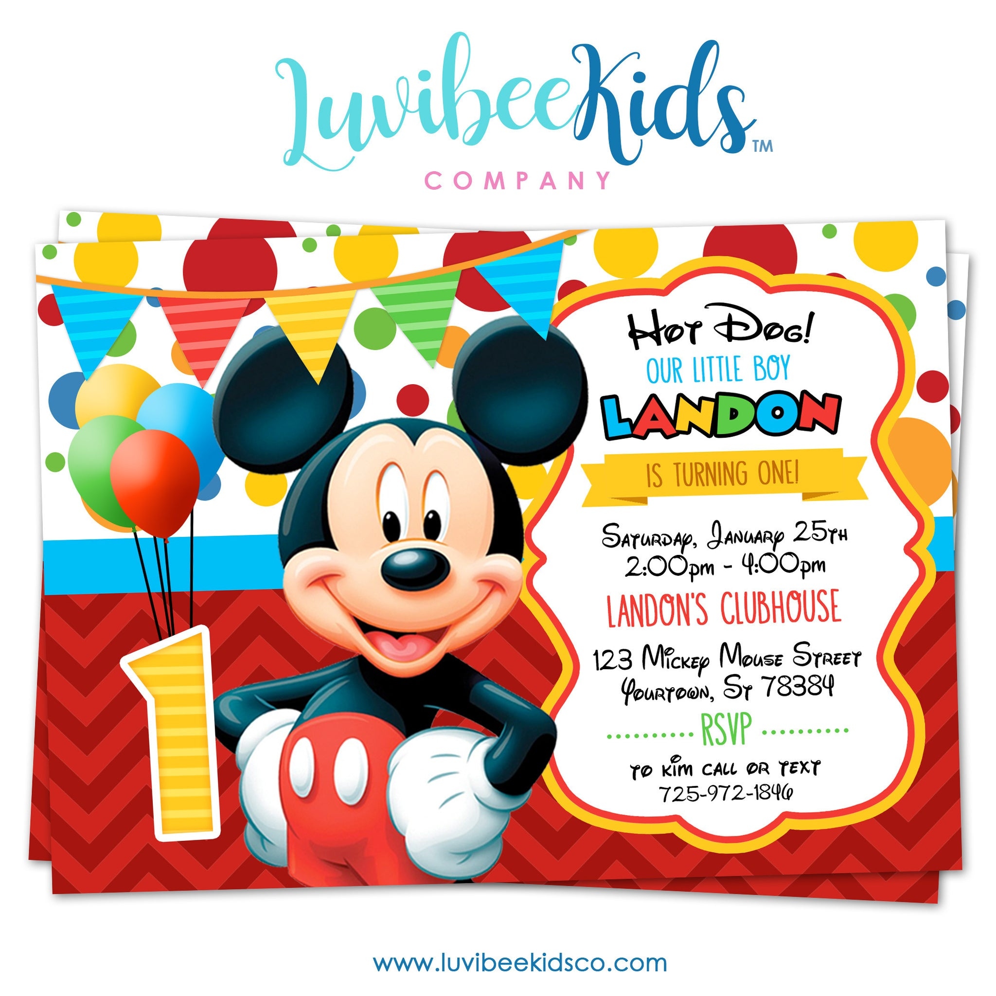 Mickey Mouse Birthday Invitation - Printable Invite - Style #01 - LuvibeeKidsCo