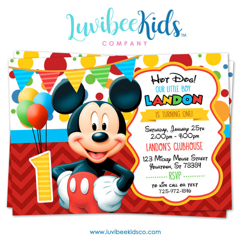 Mickey Mouse Birthday Invitation - Printable Invite - Style #01