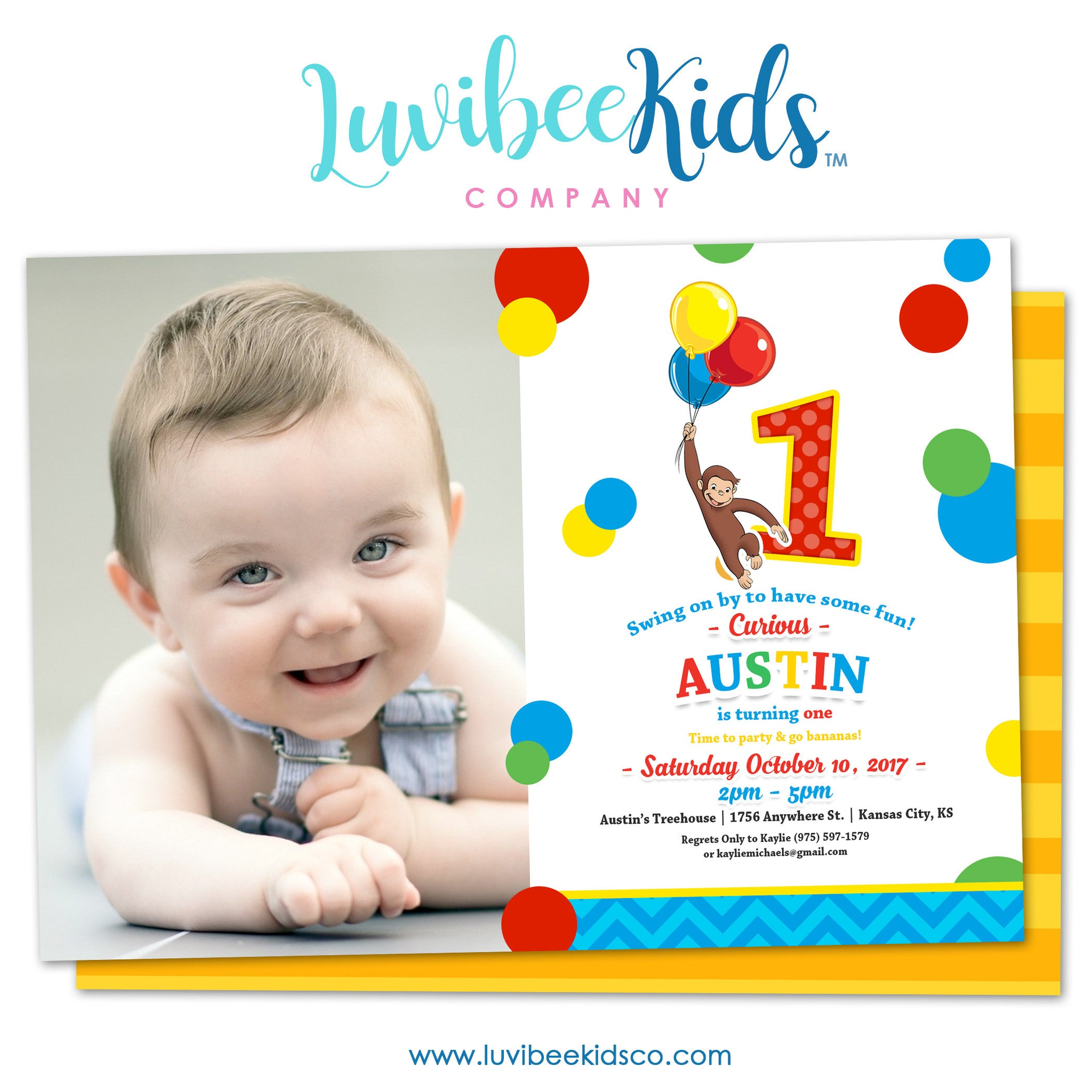 Curious George Invitation with Photo & Backside Image | Primary Color Dots - LuvibeeKidsCo