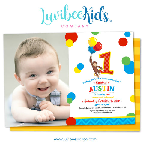 Curious George Invitation with Photo & Backside Image | Primary Color Dots