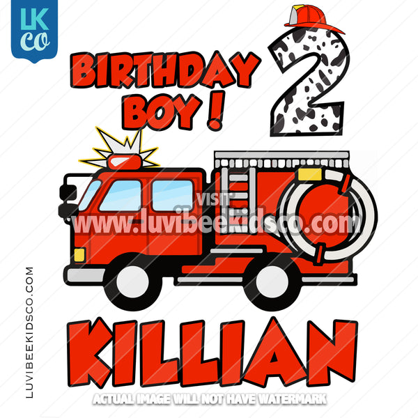 Firetruck Heat Transfer Design - Birthday Boy - LuvibeeKidsCo
