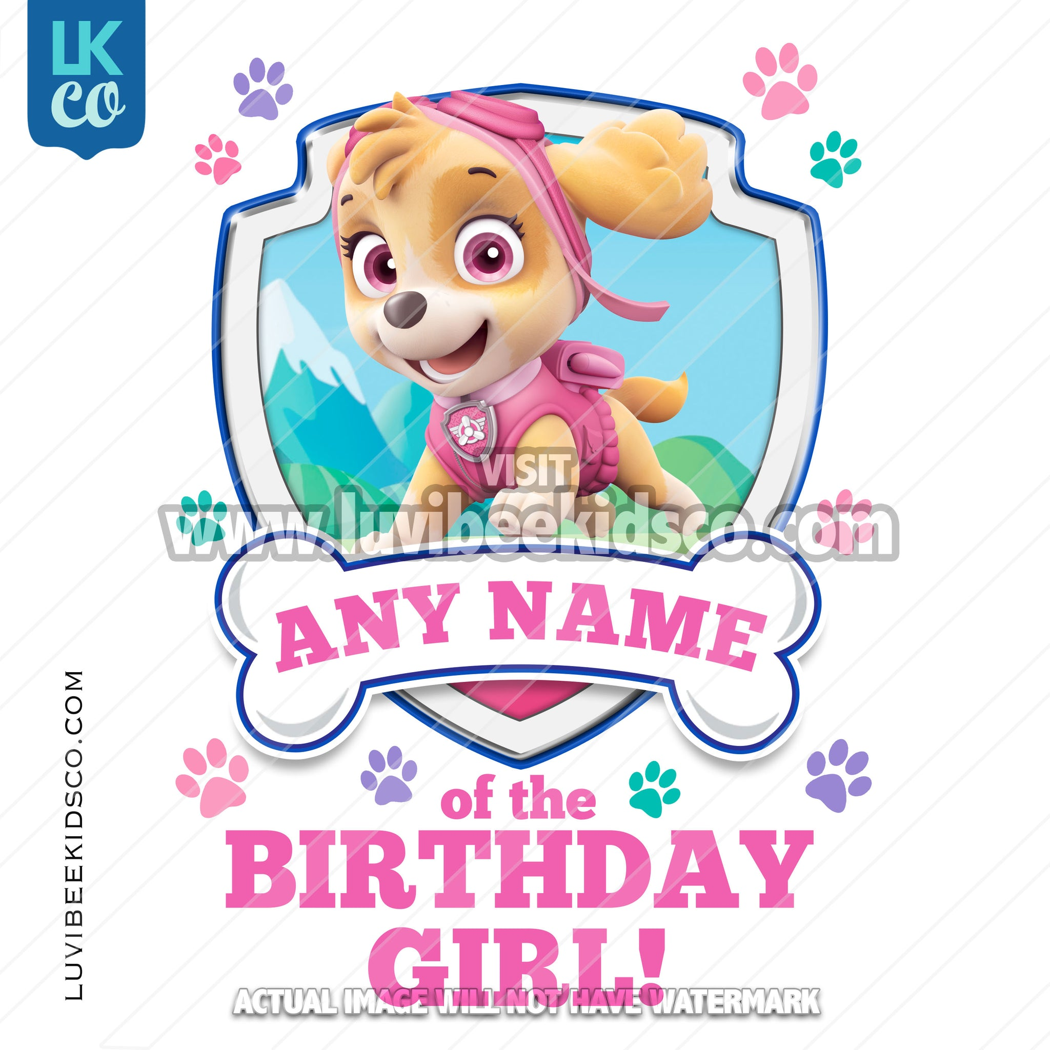 Paw Patrol - Pink Skye Family Member of the Birthday Girl - LuvibeeKidsCo