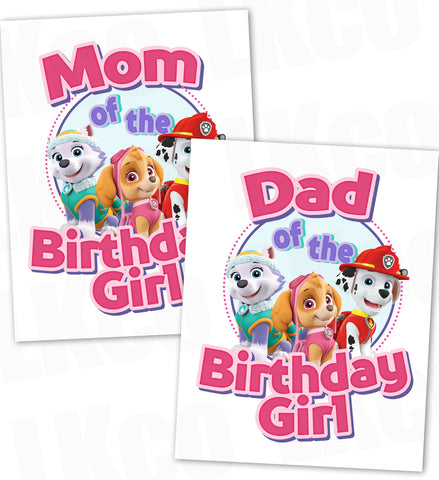 Paw Patrol Iron On Transfer | Pink | Mom & Dad of the Birthday Girl Set