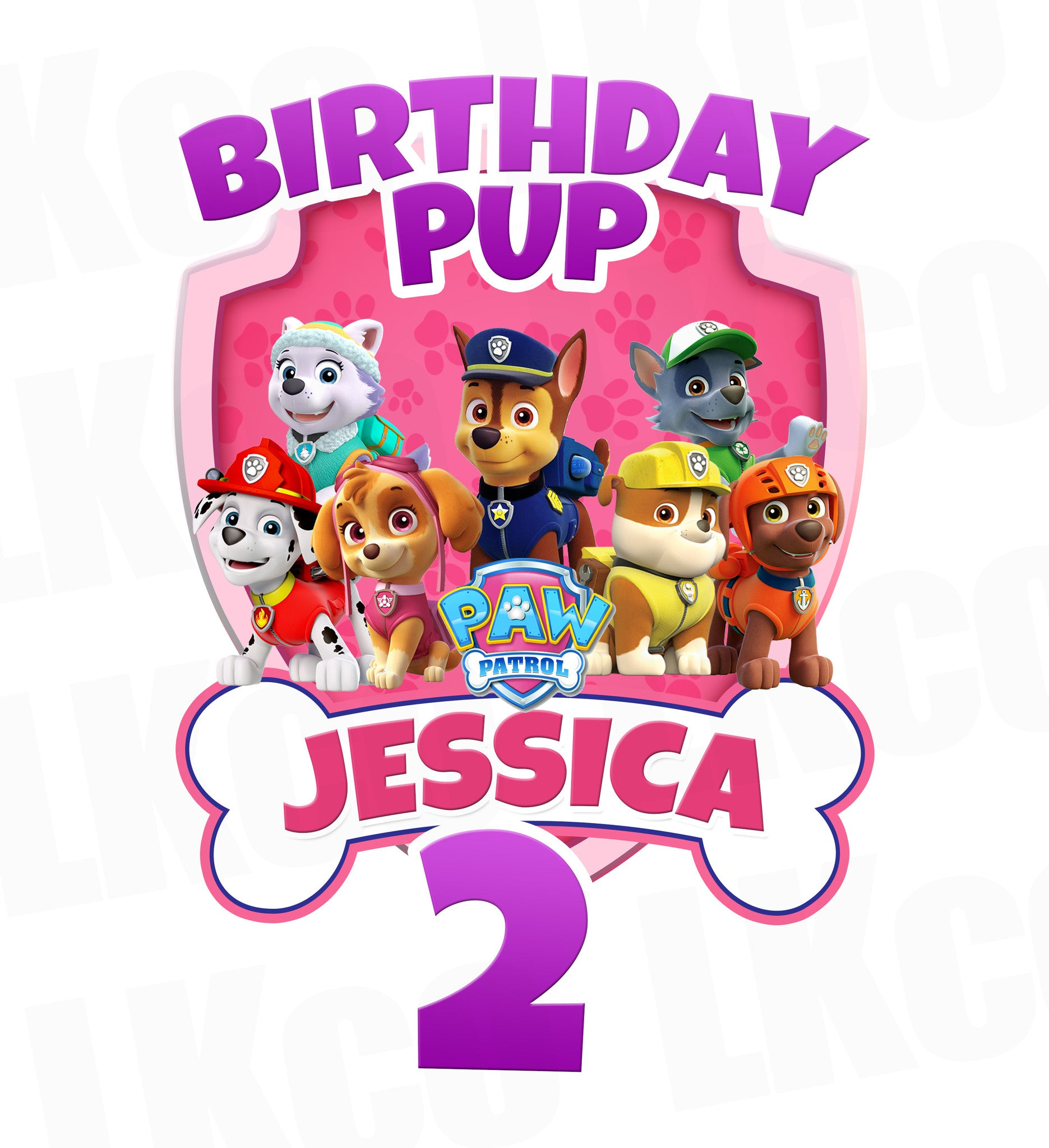 Paw Patrol Iron On Transfer - Pink Bone | Birthday Pup