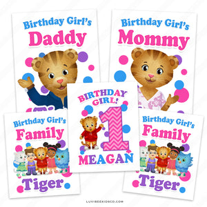 Daniel Tiger Iron On Transfers Family Pack | Pink - Birthday Girl - LuvibeeKidsCo