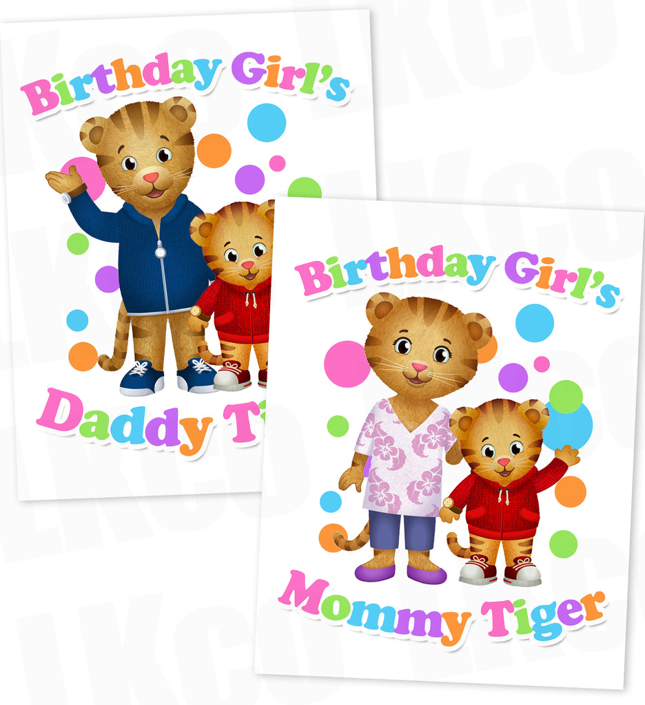Daniel Tiger Iron On Transfers Set for Mommy & Daddy | Birthday Girl Rainbow Style #03 - LuvibeeKidsCo