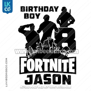 Fortnite Heat Transfer Design - Birthday Boy - Black & White - LuvibeeKidsCo
