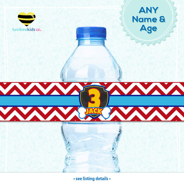 Paw Patrol Bottle Labels | Drink Wrappers Printable - Boys - LuvibeeKidsCo