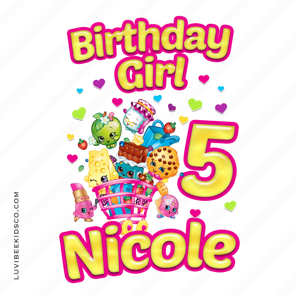 Shopkins Iron On Transfer | Birthday Girl | Pink