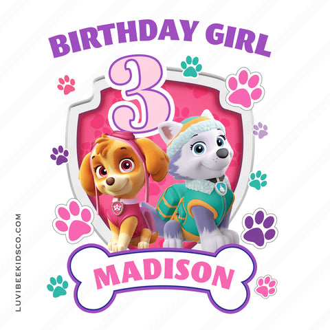Paw Patrol Iron On Transfer - Girl's Paw Prints - Skye & Everest | Birthday Girl