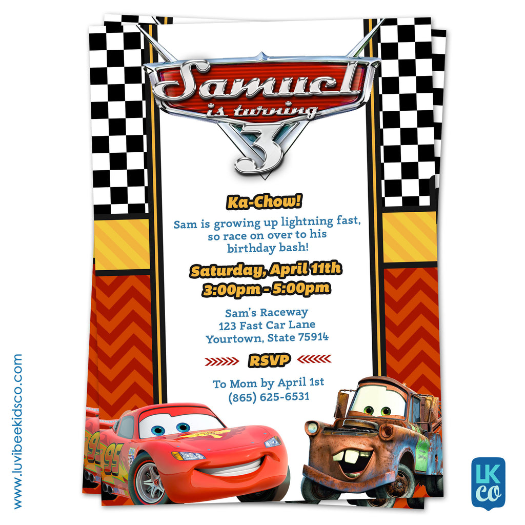 Cars Lightning McQueen Birthday Invitation Disney Cars Birthday