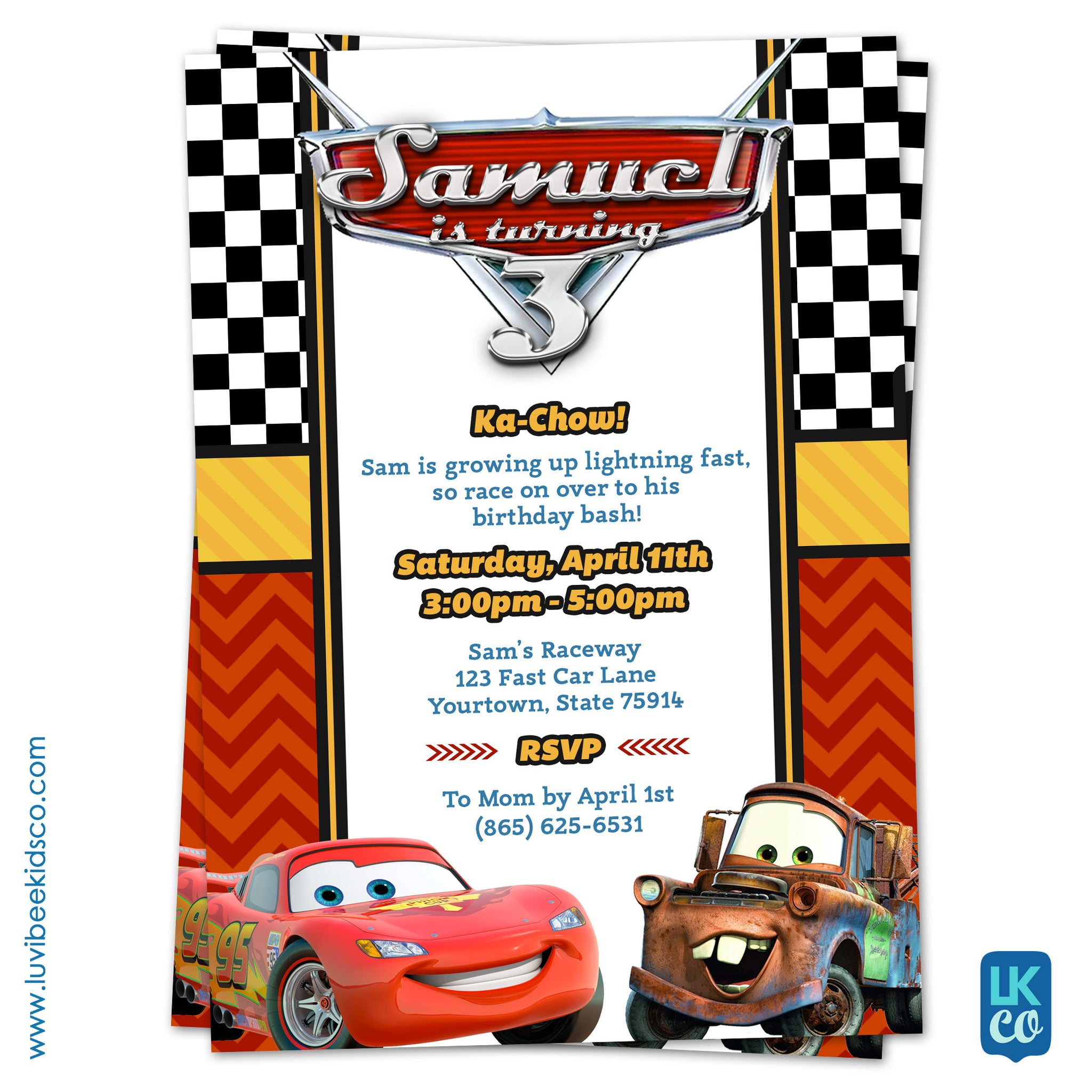 Cars Invitation Card Template Free: Cars Lightning McQueen Birthday Invitation