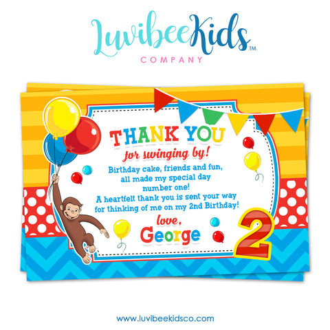 Curious George Thank You Card, Personal Message & Postcard Style, You Print - LuvibeeKidsCo