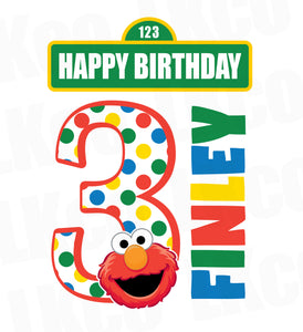 Sesame Street Iron On Birthday Shirt Design | Elmo Happy Birthday