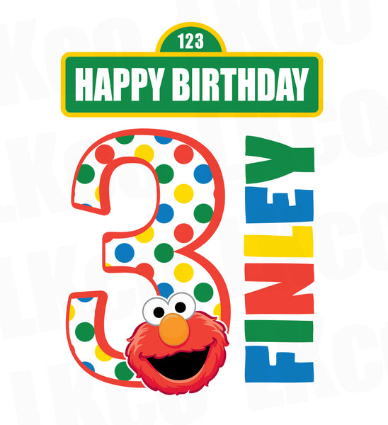 Sesame Street Iron On Birthday Shirt Design | Elmo Happy Birthday - LuvibeeKidsCo