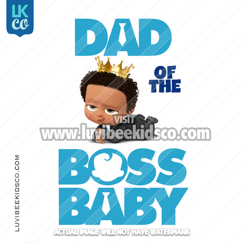 Boss Baby Iron On Transfer | Dad of the Boss Baby - Afro Boy with Crown - LuvibeeKidsCo