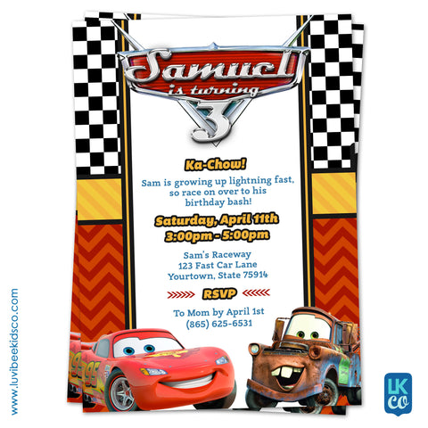 Cars Lightning McQueen Birthday Invitation | Disney Cars Birthday Printables