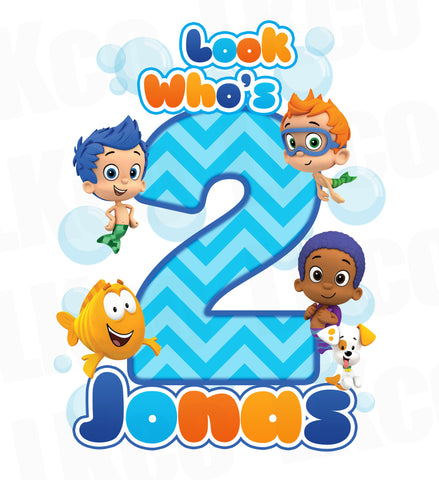 Bubble Guppies Iron On Transfer | Blue Chevrons - Look Who's - LuvibeeKidsCo