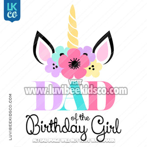 Unicorn Iron On Transfer | Flowers - Style 2 - Dad - LuvibeeKidsCo