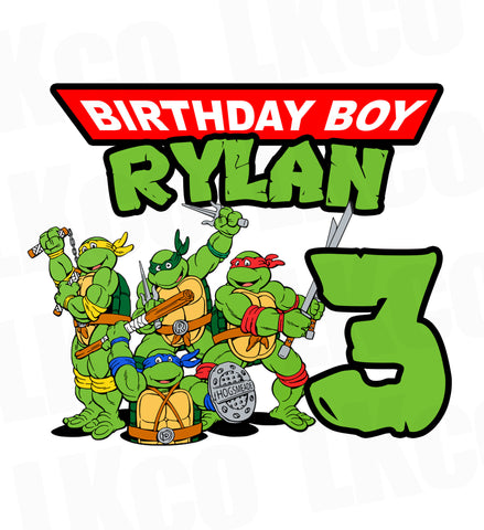 Teenage Mutant Ninja Turtles Iron On Transfer | TMNT Birthday Boy
