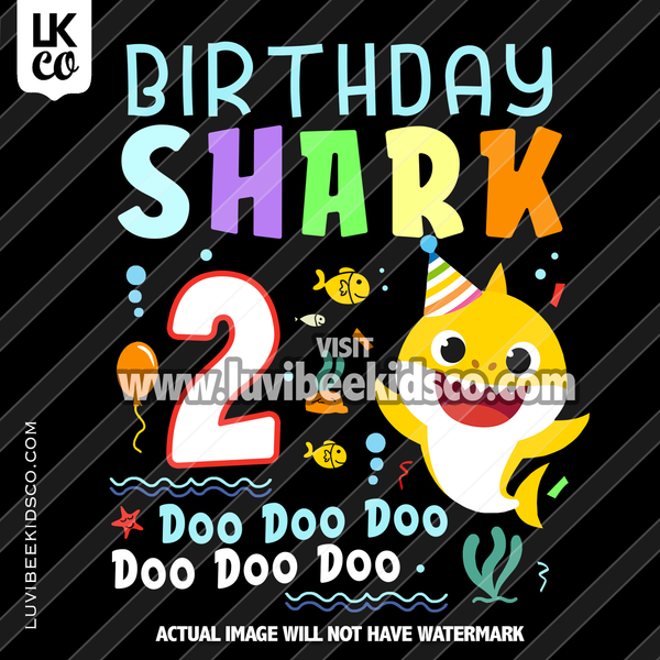 Baby Shark - Birthday Shark Heat Transfer Design - Digital File Only - LuvibeeKidsCo