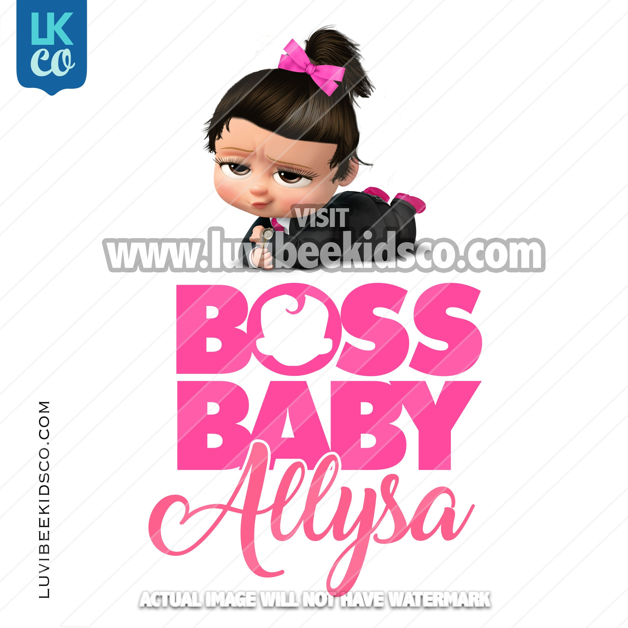Boss Baby Iron On Transfer | Pink Baby Girl | Bow - LuvibeeKidsCo