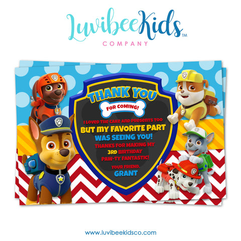 Paw Patrol Birthday Thank You Card - Personalized Card - Boys - LuvibeeKidsCo