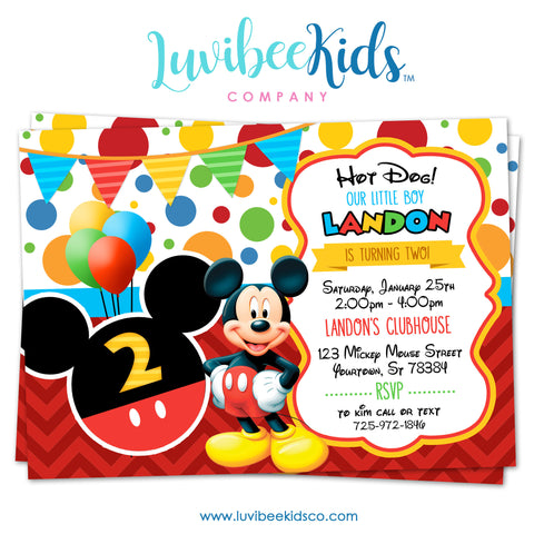 Mickey Mouse Birthday Invitation - Printable Invite - Style #02 - LuvibeeKidsCo