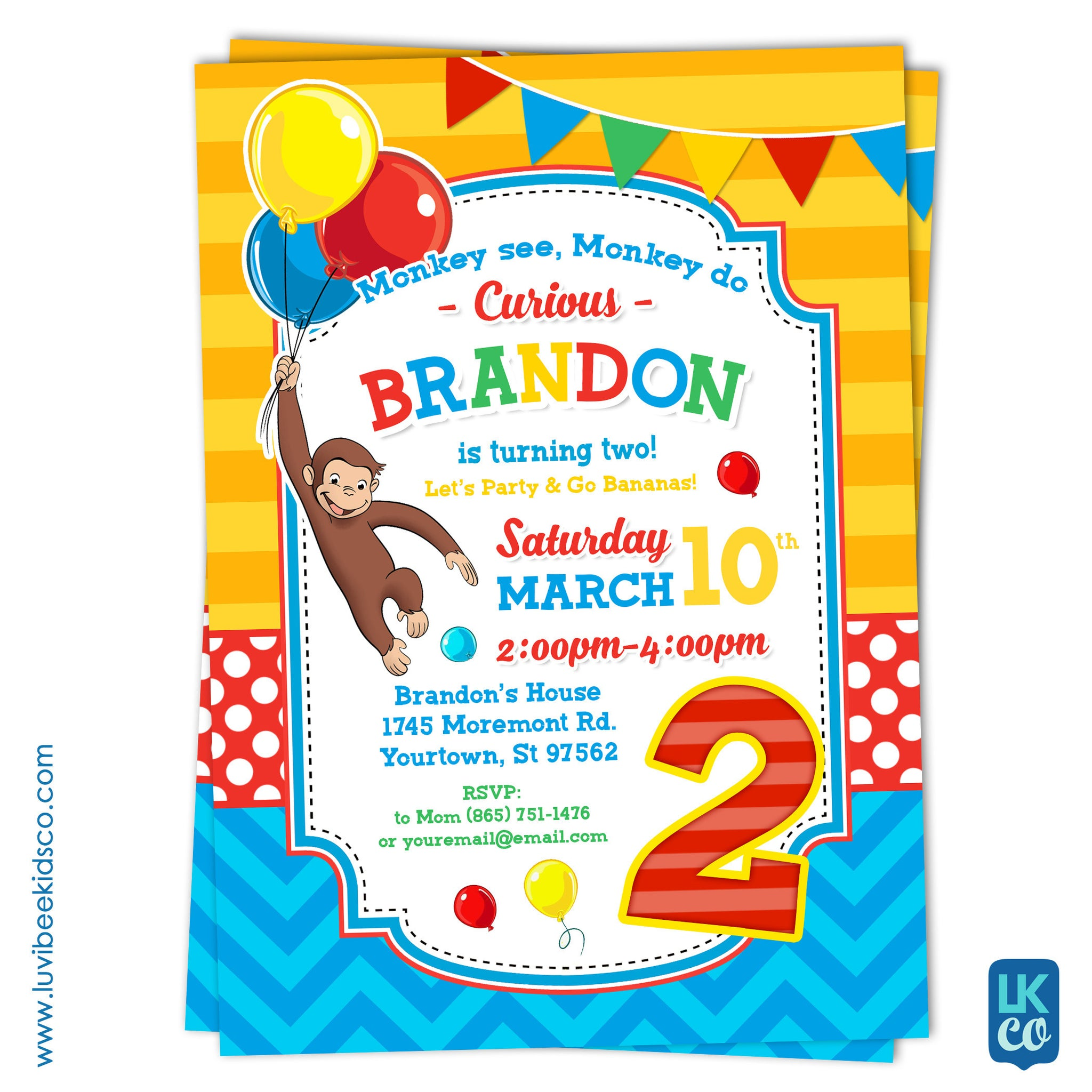 Curious George Invitation - Design 008 - LuvibeeKidsCo
