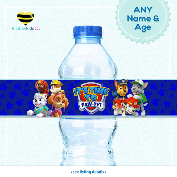 Paw Patrol Bottle Labels | Drink Wrappers Printable - Boys
