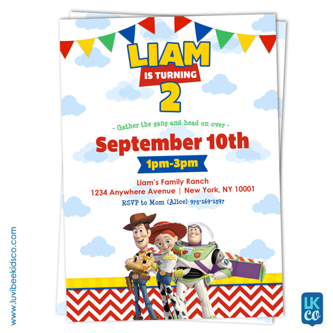 Toy Story Invitation with free Backside Image - LuvibeeKidsCo