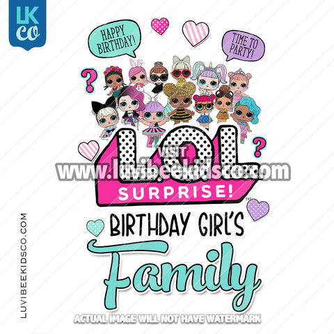 LOL Surprise Dolls Iron On Transfer Design - Add Family Members - Blue - LuvibeeKidsCo