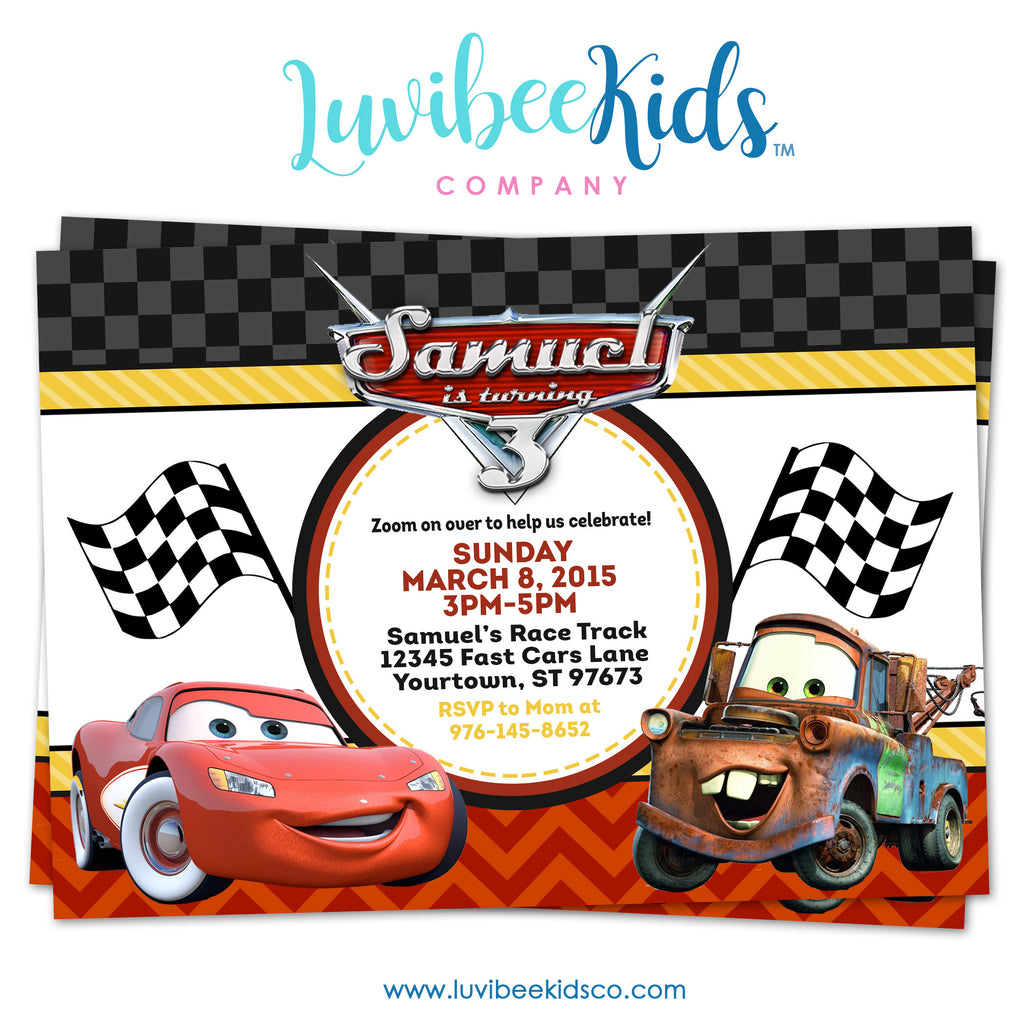 Cars Lightning McQueen Birthday Invitation - Style 2 | Disney Cars Birthday Printables - LuvibeeKidsCo