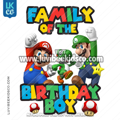 Super Mario Bros Iron On Transfer - Add Family Members - Multi-Colored