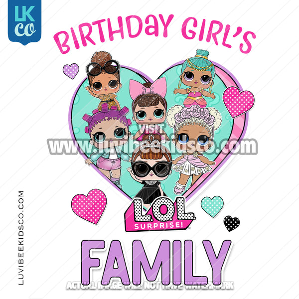 LOL Surprise Dolls Iron On Transfer Design - Add Family Members - Purple - LuvibeeKidsCo
