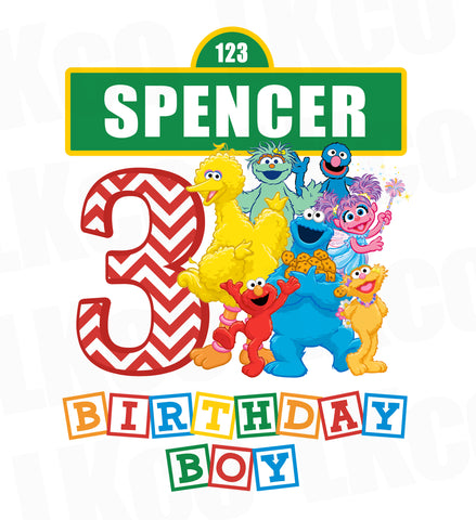 Sesame Street Iron On Birthday Shirt Design | Birthday Boy